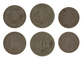 pic of asoka  - Indian rupee coins isolated on white - JPG