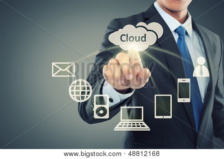 Business Man Pointing At Cloud Computing poster