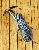 Vintage Ice Axe And Rope