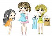 Cute Stylish Cartoon Girls Showing Her New Dress Via Shopping Set