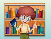 Illustration of a happy boy with a book standing in front of the bookshelves