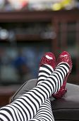 stock photo of stilettos  - High heel stileto ruby shoes or slippers - JPG