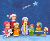 stock photo of christmas cards  - chorus group of seven children with dog singing carols during Christmas eve - JPG
