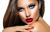 stock photo of makeover  - Sexy Beauty Girl with Red Lips and Nails - JPG
