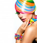 foto of nail  - Beauty Girl Portrait with Colorful Makeup - JPG