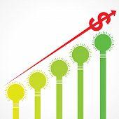 rising graph of dollar arrow and bars made of bulbs