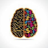 Conceptual idea-silhouette image of brain with dollar symbol