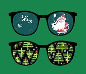 Retro sunglasses with new year reflection in it. Vector illustration of accessory - isolated eyeglas
