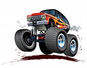 image of monster-truck  - Vector Cartoon Monster Truck isolated on white - JPG