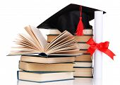 stock photo of tassels  - Grad hat with diploma and books isolated on white - JPG