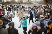 MOSCOW - DEC 9: A lot of people are having fun throwing snow at each other in the Central Park of Cu