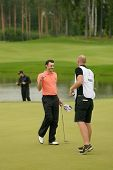 MOSCOW, RUSSIA - JULY 28: Matthew Nixon of England with his caddie during final round of the M2M Rus
