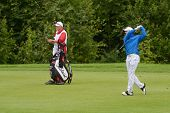 MOSCOW, RUSSIA - JULY 27: Michael Hoey of Northern Ireland and his caddie during 3rd round of the M2