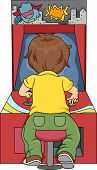 Rear View Illustration of Kid Boy Playing in Arcade