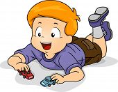 Illustration of Kid Boy Playing Toy Car