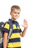 image of bagpack  - Schoolboy sitting on books isolated on a white background - JPG