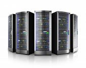 pic of racks  - Row of network servers in data center isolated on white background with reflection effect - JPG