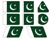 Buttons With Flag Of Pakistan
