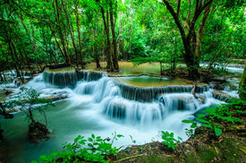 picture of cataracts  - Huay Mae Khamin Paradise Waterfall located in deep forest of Thailand. Huay Mae Khamin - Waterfall is so beautiful of waterfall in Thailand Huay Mae Khamin National Park Kanchanaburi Thailand.