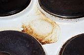 Old White Enamelled Dirty Electric Cooker