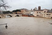 Tiber River Breaks Its Banks