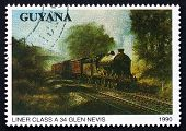 Postage Stamp Guyana 1990 Liner Class A34, Locomotive