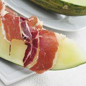 spanish melon con jamon, melon with serrano ham, a typical dish in Spain