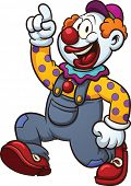 Happy cartoon clown. Vector clip art illustration with simple gradients. All in a single layer.