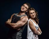 young athlets couple in studio