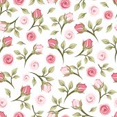 stock photo of english rose  - Vector vintage seamless pattern with small pink roses on a white background - JPG