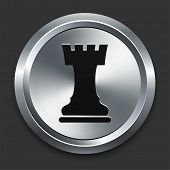 Rook Icon on Metallic Button Collection