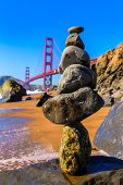 San Francisco Golden Gate Bridge from Marshall beach in California USA