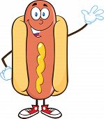 Happy Hot Dog Cartoon Character Waving