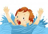stock photo of waving hands  - Illustration of a Drowning Boy Waving His Hands Frantically While Shouting for Help - JPG