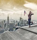 American girl saluting