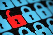 Internet security concept open red padlock virus or unsecured with threat of hacking