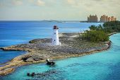 harbor entrance at nassau, bahamas, and lighthouse