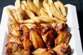 spicy wings and potato wedges poster