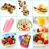Collection of healthy snacks particularly for children.  Includes ants on a log, trail mix, apple an