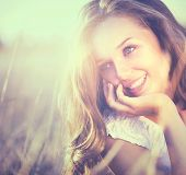 stock photo of glow  - Beauty Fresh Romantic Girl Outdoors - JPG
