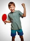 table tennis athlete ping pong boy experiencing joy of victory w
