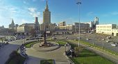 MOSCOW, RUSSIA - NOV 09, 2013: (view from unmanned quadrocopter) Leningradskaya hotel and Komsomolsk