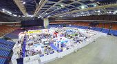 MOSCOW, RUSSIA - NOV 14, 2013: (view from unmanned quadrocopter) International Exhibition ExpoClean