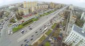 MOSCOW, RUSSIA - NOV 08, 2013: (view from unmanned quadrocopter) Big Cherkizovskaya street. Length o