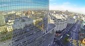MOSCOW, RUSSIA - NOV 09, 2013: (view from unmanned quadrocopter) Roof of Business Centre Preo-8 and