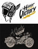 stock photo of motorcycle  - Motorcycle Themed  handmade drawing collection - JPG