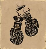 pic of knockout  - handmade illustration vector sketch athletics boxing gloves - JPG