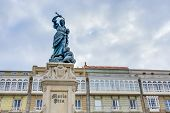 stock photo of pita  - Monument to Maria Mayor Fernandez de Camara y Pita known as Maria Pita was a Galician heroine of the defense of A Coruna in 1589 against the English Armada in Galicia Spain - JPG