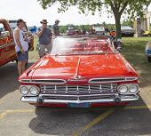 1959 Red Chevy Impala Convertible Front View