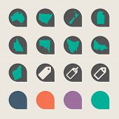 Set of Australian state map marker buttons in flat web design colors.